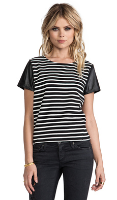 Sanctuary Striped Sport Tee in Black