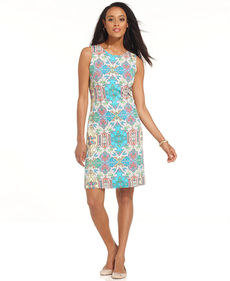 Charter Club Petite Dress, Sleeveless Printed Sheath