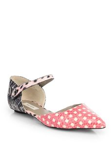 Marc Jacobs Mixed Print Snakeskin Mary Jane Flats