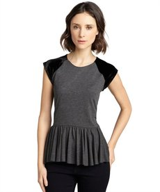 Rebecca Taylor grey jersey and black velvet peplum top