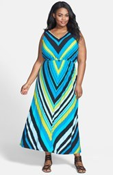 Calvin Klein Stripe Maxi Dress (Plus Size)