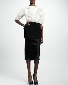 Lanvin Jersey-Peplum Duchesse Pencil Skirt, Black