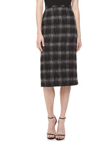 Michael Kors Brushed Medium Check Pencil Skirt