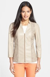 Lafayette 148 New York Laser Cut Leather Jacket