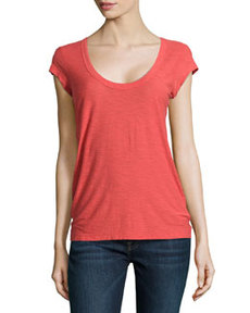 James Perse Cap-Sleeve Slub Knit Tee, Rouge