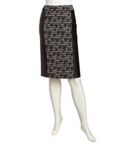 Lafayette 148 New York Houndstooth Faux-Leather Pencil Skirt