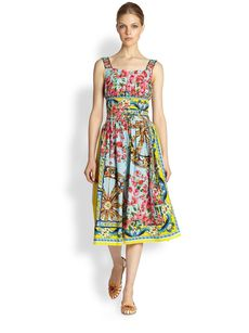Dolce & Gabbana Floral Wheel Print Poplin Dress