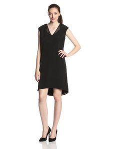 Calvin Klein Women's Plus-Size V-Neck Dress with Chiffon