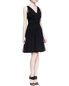 Gathered V-Neck Silk Chiffon Dress, Black   Gathered V-Neck Silk Chiffon Dress, Black