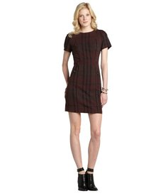 Burberry mahogany red canvas wool blend short sleeve dress
