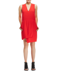 J Brand Ready to Wear Mina Assymetric Crepe Dress