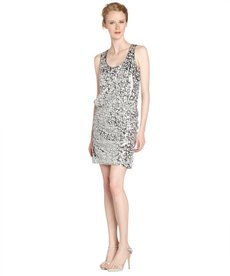 Laundry by Shelli Segal green and silver racerback sequin sleeveless dress