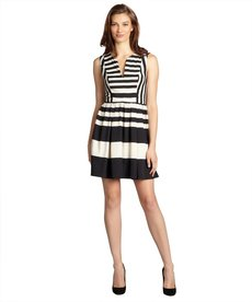 A.B.S. by Allen Schwartz black and ivory striped sleeveless v-neck dress