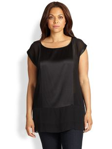 Eileen Fisher, Sizes 14-24 Pieced Silk-Blend and Silk Chiffon Tunic