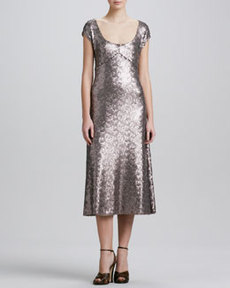 Marc Jacobs Brushed Metal Sequins Dress
