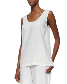 Go Silk Linen Scoop-Neck Tank, White