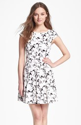 French Connection Horse Print Stretch Cotton Fit & Flare Dress