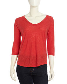 James Perse Curved-Hem Raglan-Sleeve Tee, Rouge