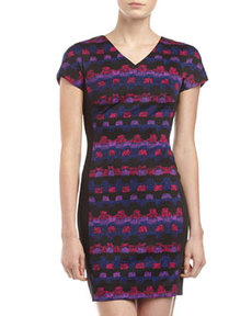 Marc New York by Andrew Marc V-Neck Paneled Ponte Dress