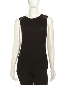 Lafayette 148 New York Crochet-Seam Tank, Black