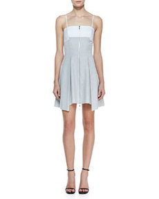 Robert Rodriguez Bonded Pleated Front-Zip Dress