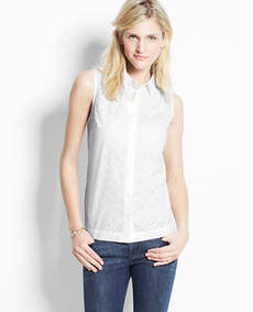 Petite Laser Cut Cotton Sleeveless Shirt