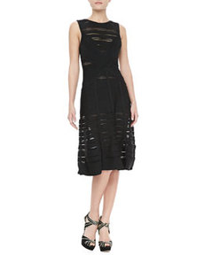 JASON WU Sheer-Stripe Bandage A-Line Dress