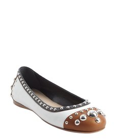 Prada back and brown and white meal studded cap toe flats