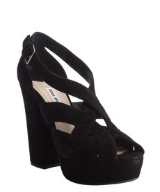 Miu Miu black suede ankle strap peep toe pumps