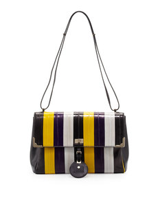 Jason Wu Striped-Eel Shoulder Bag, Gold/Violet