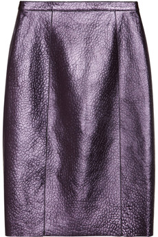 Burberry Prorsum Metallic textured-leather pencil skirt