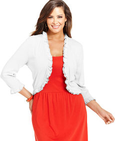 Charter Club Plus Size Ruffled Cardigan