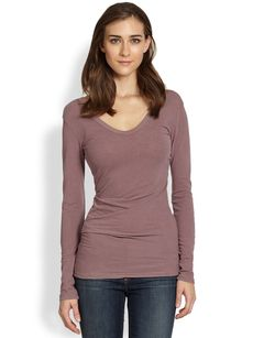 James Perse Scoop-Back Draped Stretch Cotton Tee
