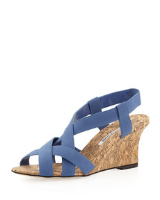 Manolo Blahnik Lastiwe Strappy Elastic Cork-Wedge Sandal, Dark Blue