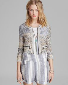 Free People Jacket - Heart Beeps Cropped Bomber