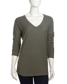 James Perse Relaxed V-Neck Slub Tee, Alligator