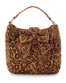 Betsey Johnson Studded Bow Leopard-Print Satchel