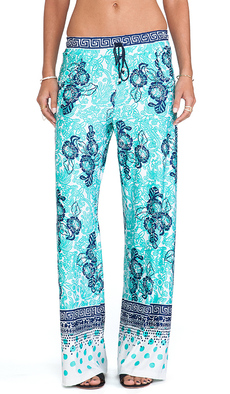 Nanette Lepore Batiki Print Beach Pants in Teal