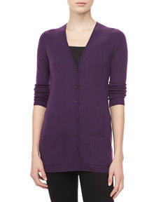 Michael Kors Cashmere V-Neck Cardigan, Blackberry