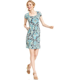 Charter Club Petite Cap-Sleeve Paisley-Print Empire-Waist Dress