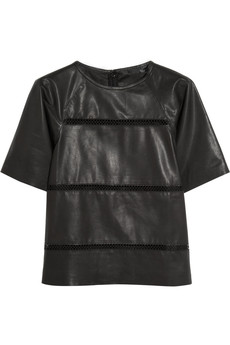 Tibi Aria pointelle-detailed leather top