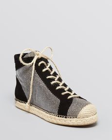 Stuart Weitzman High Top Espadrille Flats - Henly Pyrite