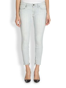 Genetic Alina Striped Skinny Ankle-Zip Jeans