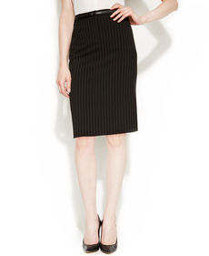 Calvin Klein Belted Pinstriped Pencil Skirt