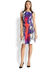 Etro Quadrant Print Flounce Dress