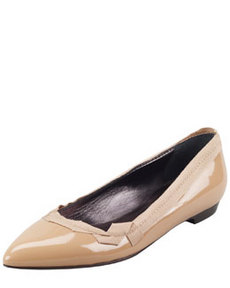 Pointed-Toe Patent Leather Ballerina Flat, Nude   Pointed-Toe Patent Leather Ballerina Flat, Nude
