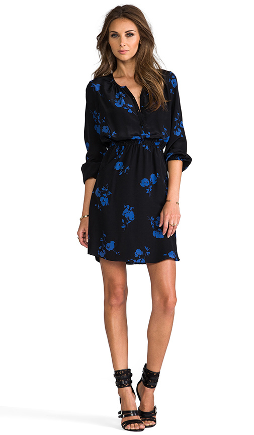 Shoshanna Oakes Garden Print Mirabel Dress in Black