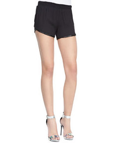 Alice + Olivia Leather-Trim Pull-On Jogging Shorts