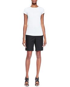 Lafayette 148 New York Metro Stretch Four-Pocket Bermuda Shorts, Black