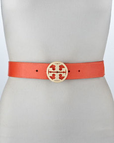 Classic Pebbled Leather Logo Belt, Poppy Red   Classic Pebbled Leather Logo Belt, Poppy Red